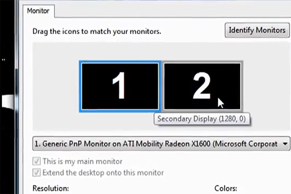 configuring dual display on a pc