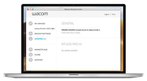 screenshot of Wacom Desktop Center